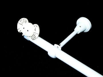 1.2m - 2.1m Designer Eyelet Extendable Curtain Pole with ELEPHANT Finials
